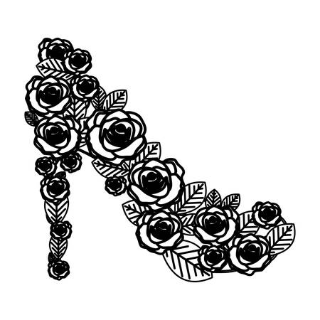 monochrome silhouette of high heel shoe formed by roses vector illustration