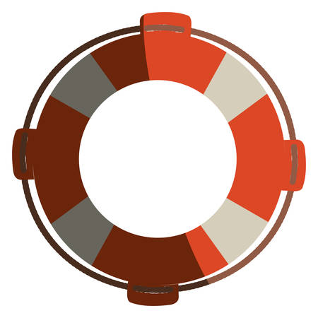 colorful flotation hoop with rope with half shadow vector illustration