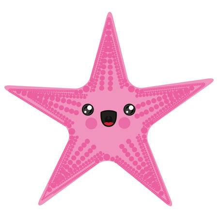 heave: white background with cartoon pink starfish vector illustration Illustration