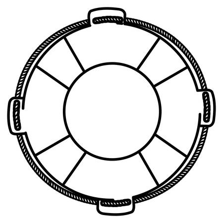 monochrome silhouette of flotation hoop with rope vector illustration