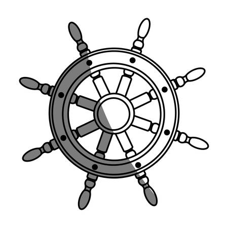helm: monochrome silhouette of boat helm with half shadow vector illustration