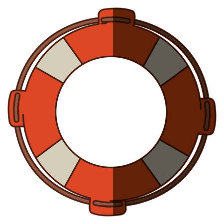 flotation: colorful flotation hoop with rope and middle shadow vector illustration Illustration