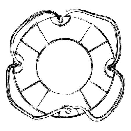 tether: monochrome sketch of flotation hoop with tether vector illustration Illustration