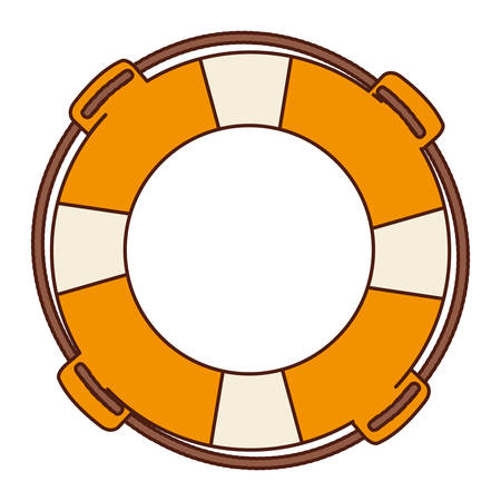 flotation: aged flotation hoop with rope vector illustration Illustration