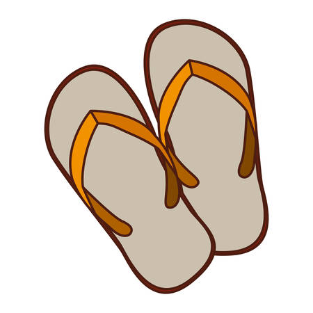 aged silhouette of beach flip-flops vector illustration