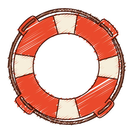 Hand colored drawing of flotation hoop with rope vector illustration