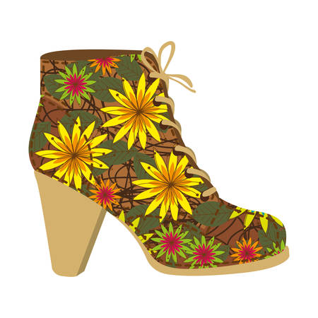Colorful silhouette of high heel shoe with shoelaces with decorative daisy flowers vector illustration