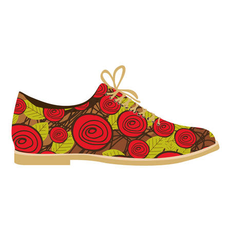 Colorful silhouette of male shoe with floral decoration vector illustration