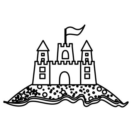 monochrome contour of beach and sandcastle with flag vector illustration Illustration
