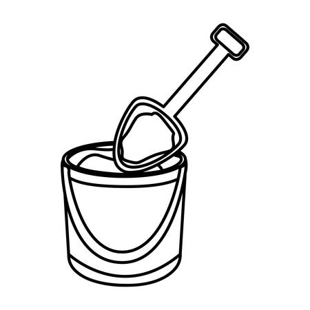 monochrome contour of bucket sand and shovel vector illustration Illustration
