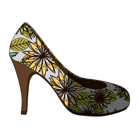 Colorful silhouette of high heel shoe with floral decoration and middle shadow vector illustration