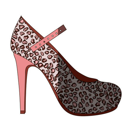 colorful silhouette of high heel shoe with stain decoration and middle shadow vector illustration