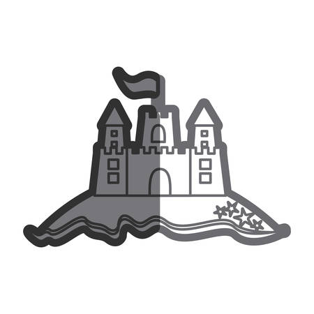 Gray thick contour of beach and sandcastle with flag vector illustration Illustration