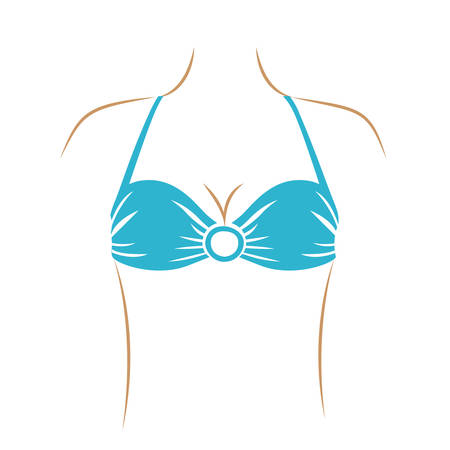 light blue lingerie: thin contour of woman with light blue swimwear bra with central ring vector illustration Illustration