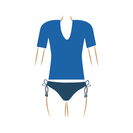 thin contour of woman swimsuit thong and t-shirt in dark blue color vector illustration