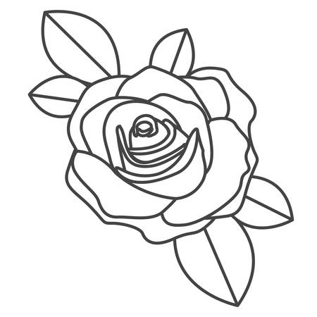 silhouette sketch flowered rose with leaves closeup vector illustration
