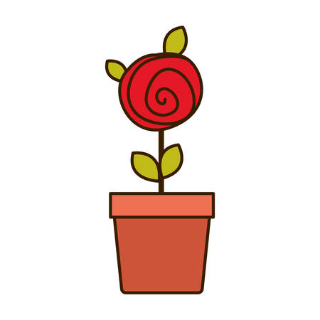 colorful drawing red rose with leaves and stem in flowerpot vector illustration Illustration