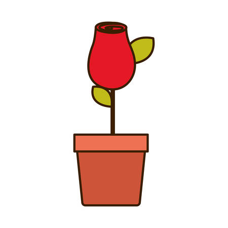 colorful drawing red rosebud with leaves and stem in flowerpot vector illustration