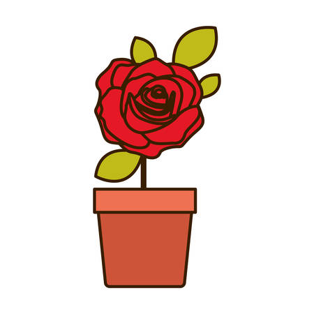colorful flowered red rose with leaves and stem in flowerpot vector illustration Illustration