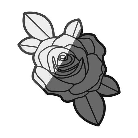 monochrome silhouette flowered rose with leaves closeup vector illustration