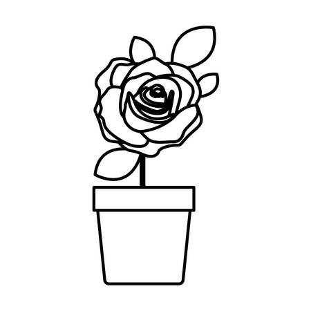 silhouette flowered rose with leaves and stem in flowerpot vector illustration Illustration