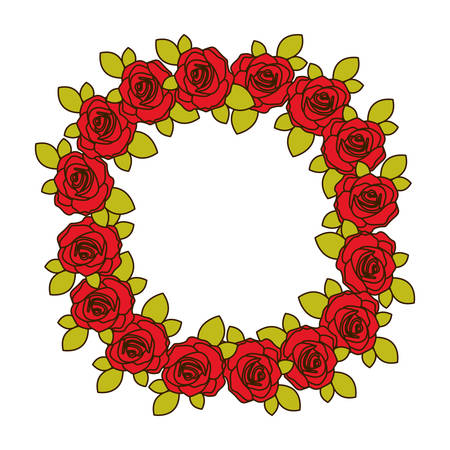 colorful crown flowered red roses with leaves vector illustration Illustration