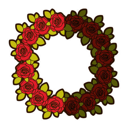 colorful shading silhouette crown flowered red roses with leaves vector illustration