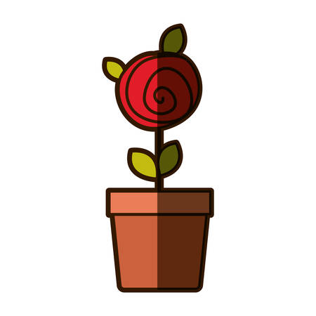 colorful shading drawing red rose with leaves and stem in flowerpot vector illustration Illustration