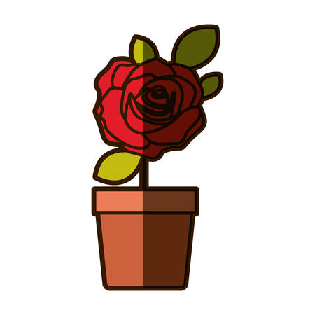 colorful shading drawing flowered red rose with leaves and stem in flowerpot vector illustration