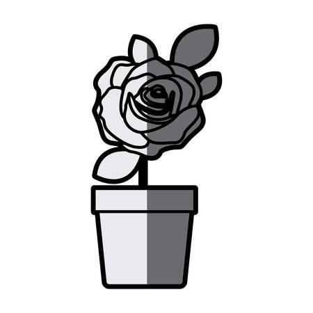 gray scale silhouette flowered rose with leaves and stem in flowerpot vector illustration Illustration