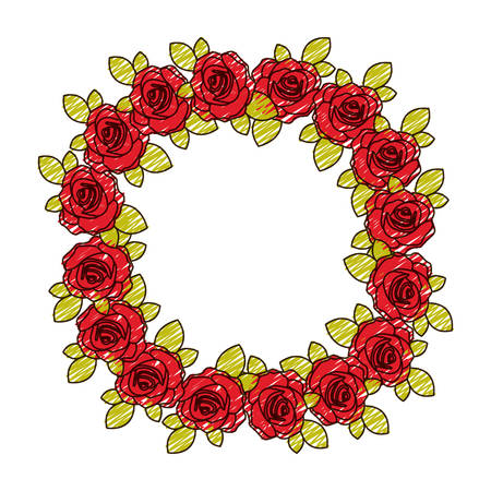 color pencil drawing of crown flowered red roses with leaves vector illustration Illustration