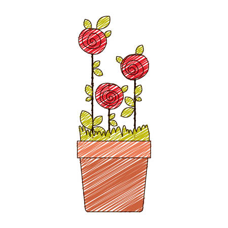 color pencil drawing of roses planted with leaves in flowerpot vector illustration