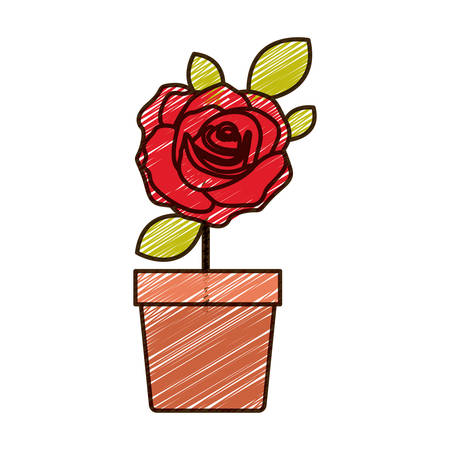 color pencil drawing of flowered red rose with leaves and stem in flowerpot vector illustration Illustration