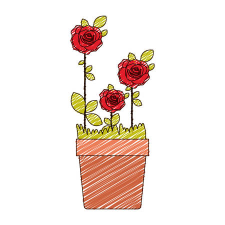 color pencil drawing of flowered red roses planted with leaves in flowerpot vector illustration Illustration