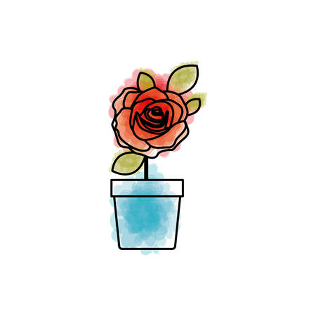 watercolor drawing of flowered red rose with leaves and stem in flowerpot vector illustration