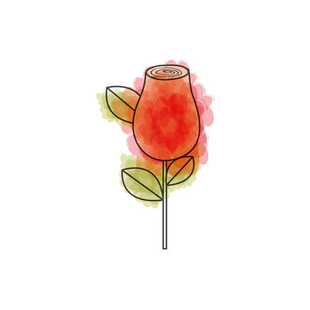 watercolor drawing of red rosebud with leaves and stem vector illustration