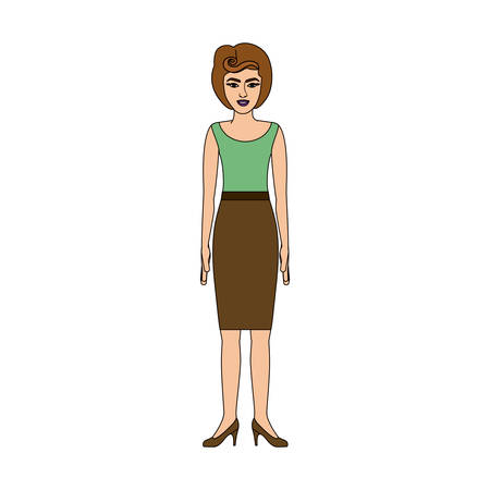 young woman legs up: colorful silhouette of woman with green light blouse and skirt retro style vector illustration Illustration