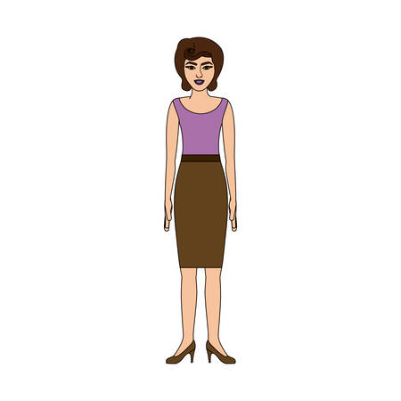 young woman legs up: colorful silhouette of woman with blouse and skirt retro style vector illustration
