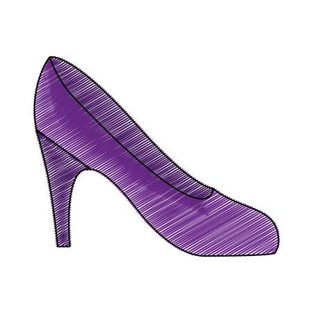 color pencil drawing of high heel purple shoe vector illustration