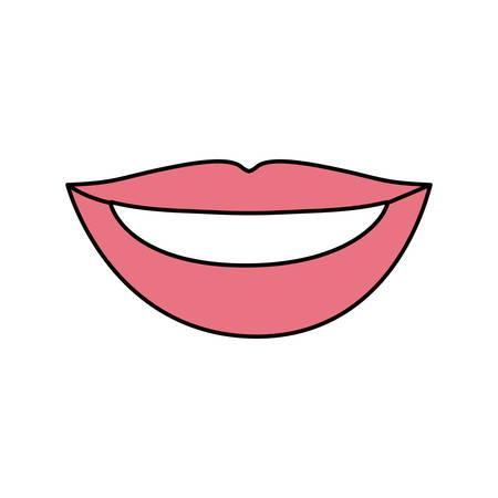 teeths: colorful silhouette of pink lips with teeths vector illustration