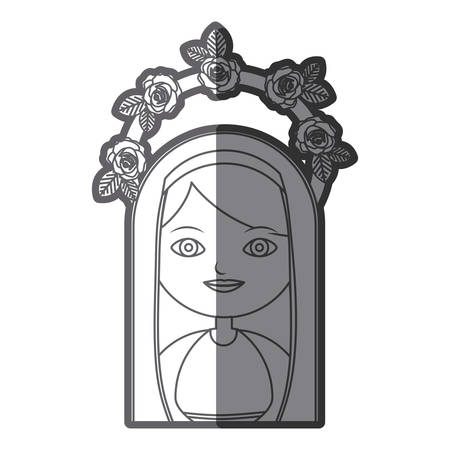 monochrome silhouette figure virgin maria cartoon with crown of roses vector illustration Illustration