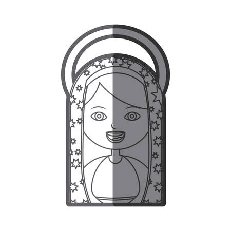 aureole: monochrome silhouette figure virgin maria cartoon with aureole vector illustration Illustration