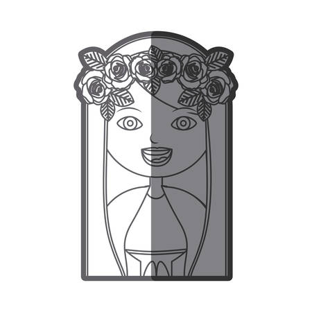 monochrome silhouette figure half body virgin maria cartoon with crown of roses vector illustration