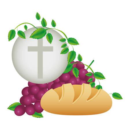 Kleur achtergrond met communie religieuze pictogrammen vector illustratie