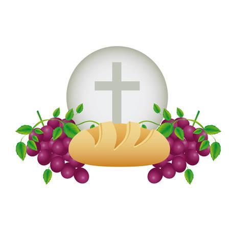 Fondo de color con iconos religiosos de comunión de pan y uvas y la ilustración de vector de cruz cristiana Ilustración de vector