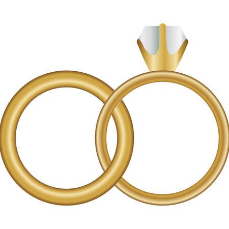 Sfondo bianco con anelli di nozze illustrazione vettoriale Vettoriali