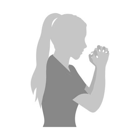 grijstinten silhouet van half lichaam vrouw bidden vectorillustratie