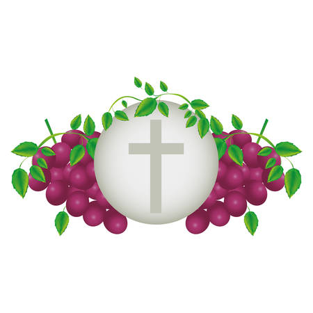 color background with communion religious icons of grapes and christian cross vector illustration