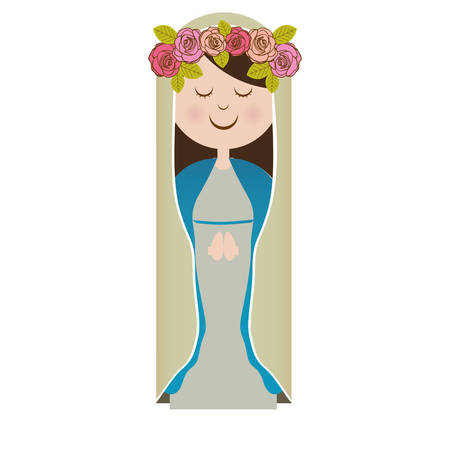 white background of virgin with crown of roses vector illustration