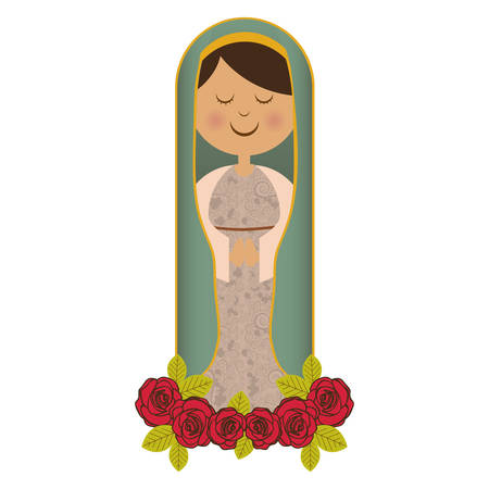 white background of virgin with ornament of roses vector illustration